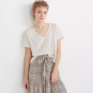 NWT Madewell Textured V-Neck Boxy Top size XS